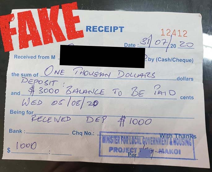 The fake receipt used in the alleged scam.