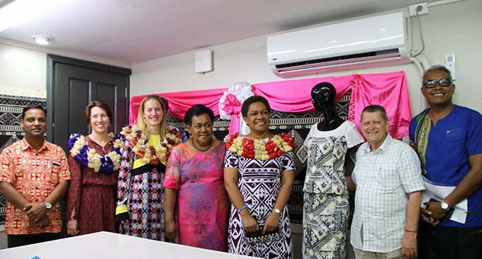 Minister for Women Mereseini Vuniwaqa, fourth from left, at the launch of the Fashion Incubation Centre in Suva.