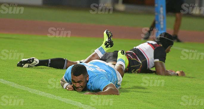 Suva's Petero Misaele runs in for try against Naitasiri at ANZ Stadium on August 21, 2020. Photo: Ronad Kumar.