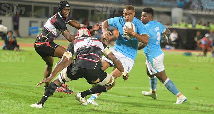 Suva's Enele Malili with his attempt for try against Naitasiri at ANZ Stadium on August 21, 2020. Photo: Ronad Kumar.