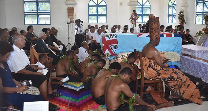 The Bete seated in the front during the church service, speaker of Parliament Ratu Epeli Nailatikau and MP Roko Tui Dreketi Ro Teimumu Kepa at the Natalau village, Nadi yesterday. Photo: WAISEA NASOKIA