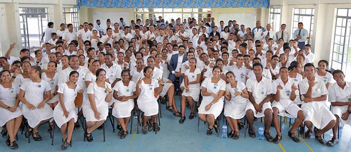 Minister for Economy Aiyaz Sayed-Khaiyum (middle) with Natabua High School teachers and Year 13 students.