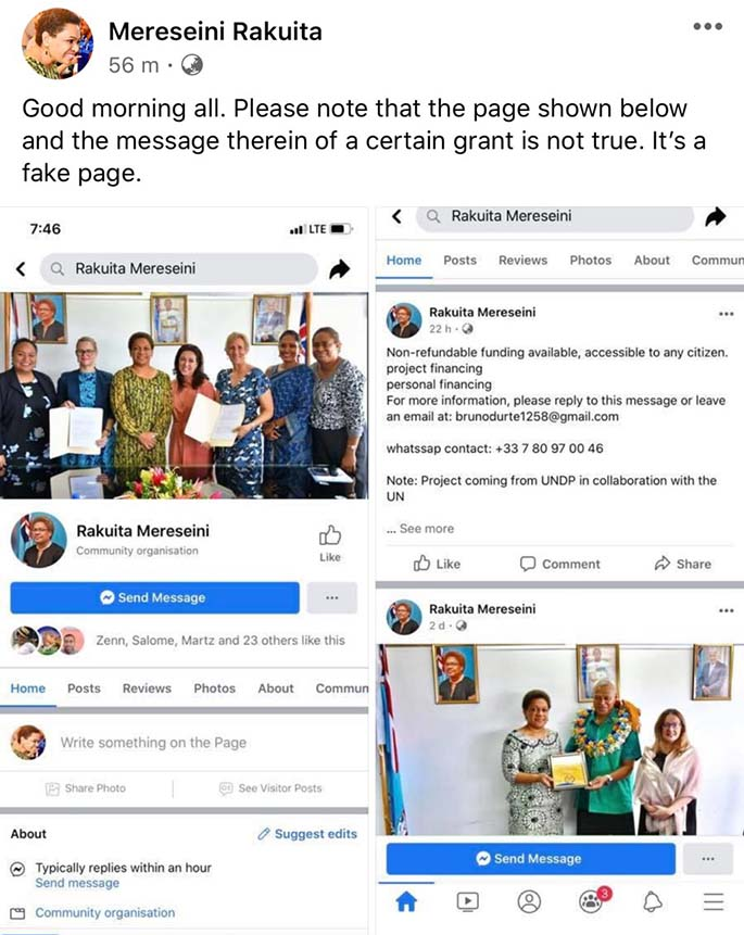 Minister for Women, Children and Poverty Alleviation Mereseini Vuniwaqa's post on Facebook warns the public on the fake account.