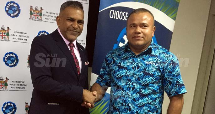 Minister for Commerce, Tourism, Trade and Transport, Faiyaz Koya, with acting chief executive of Film Fiji Jone Tikoca following the announcement in Suva, on August 18, 2020. Photo: Frederica Elbourne