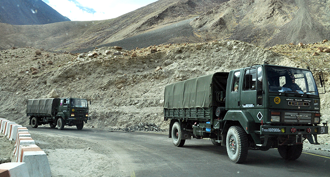 The rough terrain of Ladakh where troops are gathering.