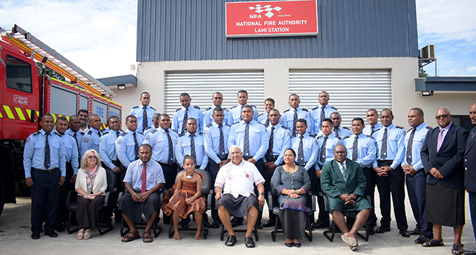Prime Minister Voreqe Bainimarama at the opening of National Fire Authority Lami Fire station on August 12, 2020. Photo: Ronald Kumar.