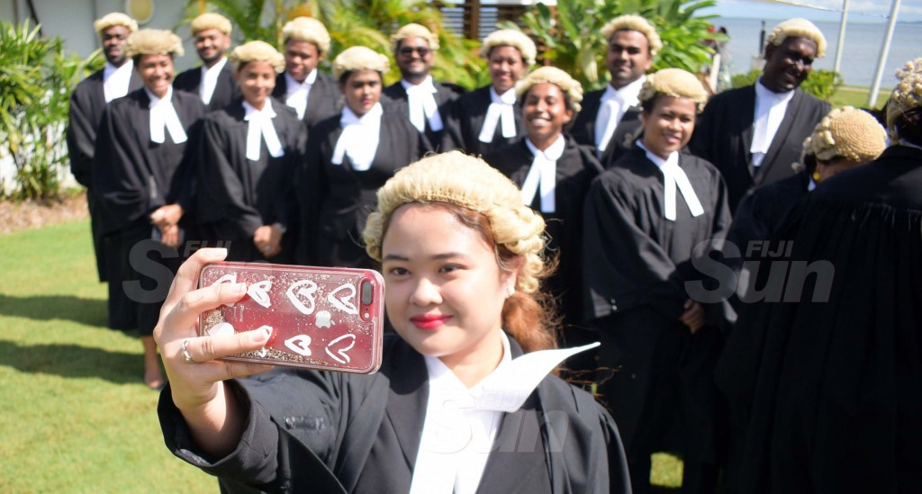 Capturing the Moment…Monica Aguilar takes a selfie following her admission to the Bar by Acting Chief Justice Kamal Kumar at GPH on August 7, 2020. Photo: Ronald Kumar.