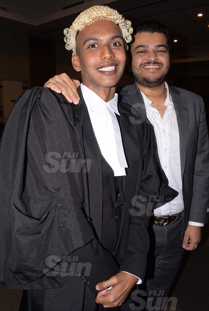 Yovin Naidu (left) with his best friend Avikesh Narayan following his admission to the Bar by Acting Chief Justice Kamal Kumar at GPH on August 7, 2020. Photo: Ronald Kumar.