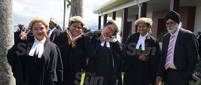 University of South Pacific Law students, (from left) Monica Aguilar, Racheal Simmons, Debbie Whippy and Magdelena Ramoala with USP Vice Chancellor Prof. Pal Ahluwalia following their admission to the Bar by Acting Chief Justice Kamal Kumar at GPH on August 7, 2020. Photo: Ronald Kumar.