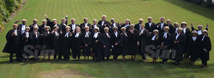 Thirty sevens University of South Pacific Law students  following their admission to the Bar by Acting Chief Justice Kamal Kumar at GPH on August 7, 2020. Photo: Ronald Kumar.