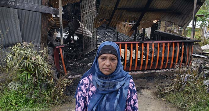 Atrun Nisha 60 after her family home was destroyed in fire at Makoi on August 4, 2020. Photo: Ronald Kumar.
