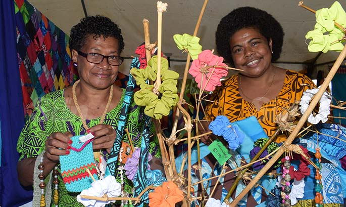Sereana Duraqa (left) and Adi Lolo Marayawa with some of their handycraft on sale during Open Market Day at Ratu Sukuna Park on August 7, 2020. Photo: Ronald Kumar.