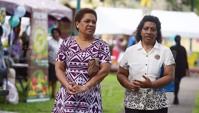 Minister for Women Meresaini Vuniwaqa (left) and Director Women Selai Korovusere during Open Market Day at Ratu Sukuna Park on August 7, 2020. Photo: Ronald Kumar.