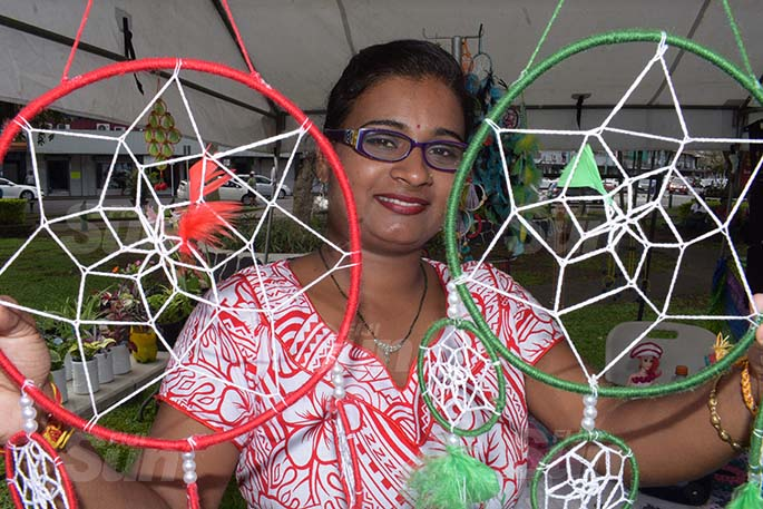 Amrita Nand 33 with some of her hand made products on sale during Open Market Day at Ratu Sukuna Park on August 7, 2020. Photo: Ronald Kumar.