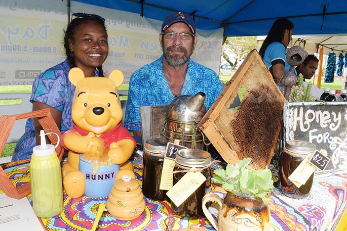 Suzie Hirst Tuilau and Mark Hirst a their stall during Open Market Day at Ratu Sukuna Park on August 7, 2020. Photo: Ronald Kumar.