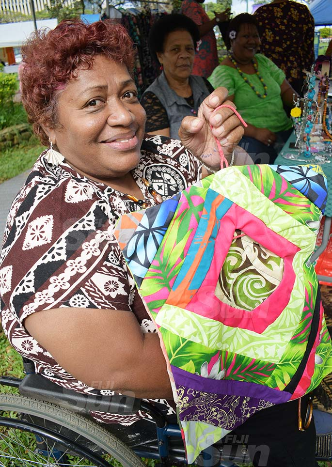 Akanisi Latu of inclusive Women Artist of Fiji with some of their products during Open Market Day at Ratu Sukuna Park on August 7, 2020. Photo: Ronald Kumar.