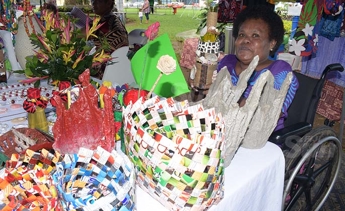 Litia Naitanui 50 of Women with Disability Rewa Branch with some of their products during Open Market Day at Ratu Sukuna Park on August 7, 2020. Photo: Ronald Kumar.