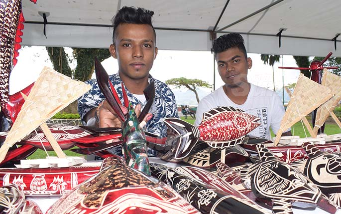 Praneel Prasad (left) and Roneel Kumar with some of their handycraft on sale during Open Market Day at Ratu Sukuna Park on August 7, 2020. Photo: Ronald Kumar.