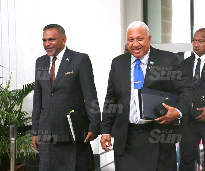 Prime Minister Voreqe Bainimarama and Minister for Commerce, Trade, Tourism and Transport, Faiyaz Koya outside of Parliament on August 31, 2020. Photo: Kelera Sovasiga