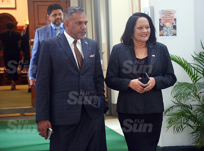 Minister for Commerce, Trade, Tourism and Transport, Faiyaz Koya and Minister for Education, Rosy Akbar outside of Parliament on August 31, 2020. Photo: Kelera Sovasiga