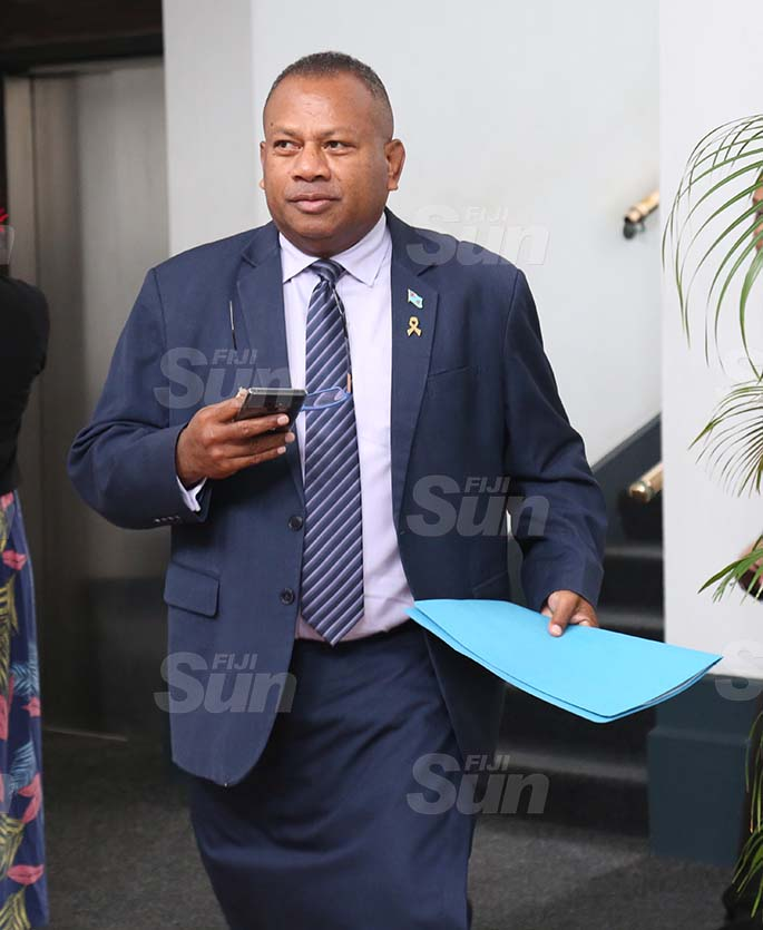Minister for Rural, Maritime Development and Disaster Management and Minister for Defence, National Security and Policing, Inia Seruiratu outside of Parliament on August 31, 2020. Photo: Kelera Sovasiga