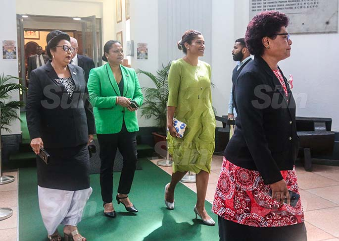 Assistant Minister for Women, Children and Poverty Alleviation, Veena Bhatnagar, Minister for Local Government, Housing and Community Development Premila Kumar, Opposition member Lynda Tabuya and Salote Radroro. Photo: Kelera Sovasiga