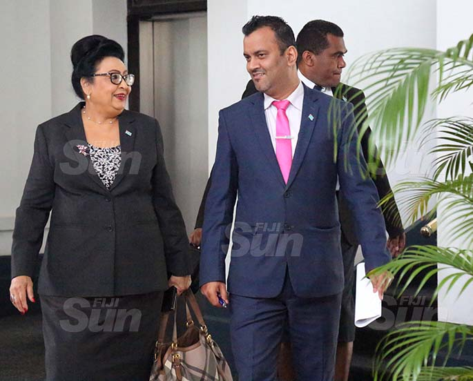 Assistant Minister for Women, Children and Poverty Alleviation Veena Bhatnagar and Assistant Minister for Employment, Productivity and Industrial Relations, Alvick Maharaj outside of Parliament on August 31, 2020. Photo: Kelera Sovasiga