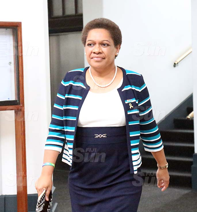 Minister for Women, Children and Poverty Alleviation, Mereseini Vuniwaqa outside of Parliament on August 31, 2020. Photo: Kelera Sovasiga