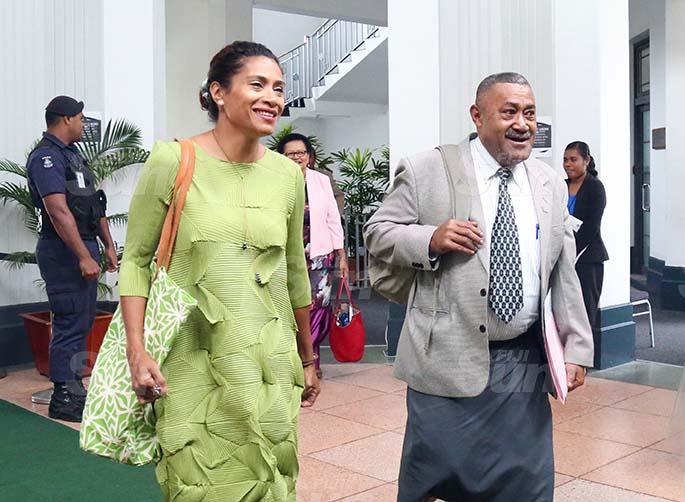 Opposition Members, Lynda Tabuya and Ratu Suliano Matanitobua outside of Parliament on August 31, 2020. Photo: Kelera Sovasiga