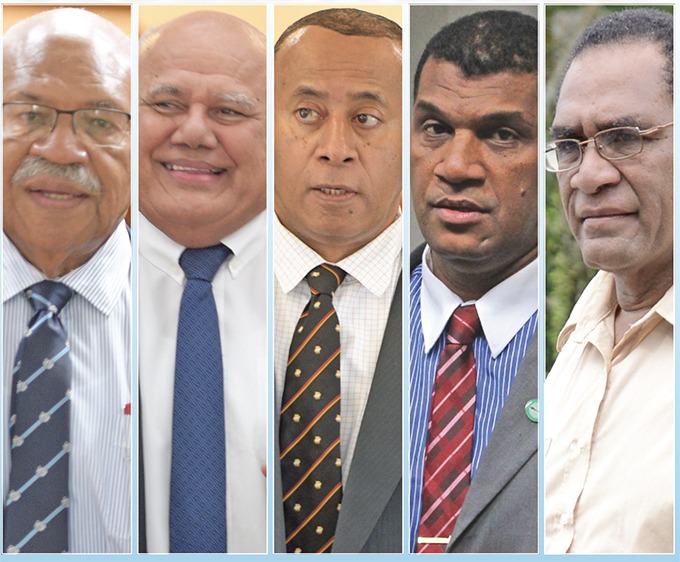 Bidding for the party leadership role include (from left) Sitiveni Rabuka, Viliame Gavoka, Ro Filipe Tuisawau, Aseri Radrodro and Pio Tabaiwalu.