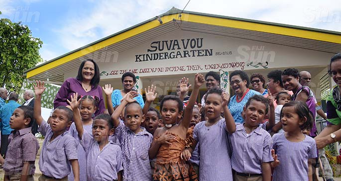 Minister for Education Rosy Akbar with Suvavou Kindergarten following it's opening by Prime Minister Voreqe Bainimarama on August 12, 2020. Photo: Ronald Kumar.