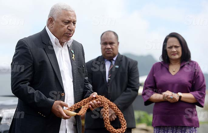 Prime Minister Voreqe Bainimarama at Suvavou village for their Kindergarten opening on August 12, 2020. Photo: Ronald Kumar.