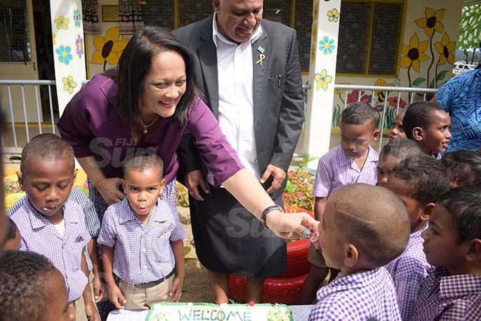 Minister for Education Rosy Akbar shares cake with Suvavou Kindergarten students after the opening on by Prime Minister Voreqe Bainimarama on August 12, 2020. Photo: Ronald Kumar.