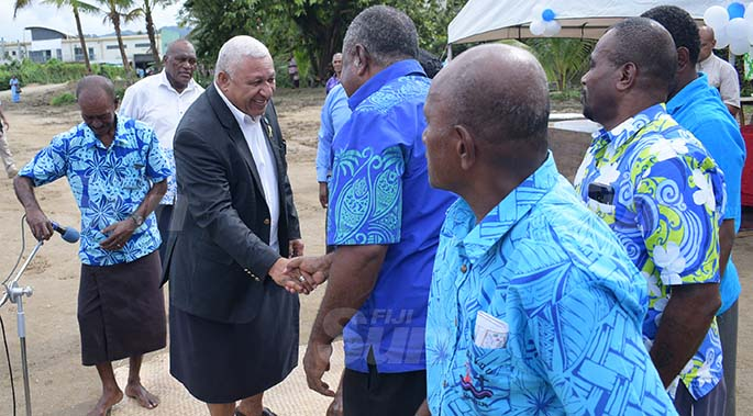 Prime Minister Voreqe Bainimarama with Suvavou villagers during their village Kindergarten opening on August 12, 2020. Photo: Ronald Kumar.