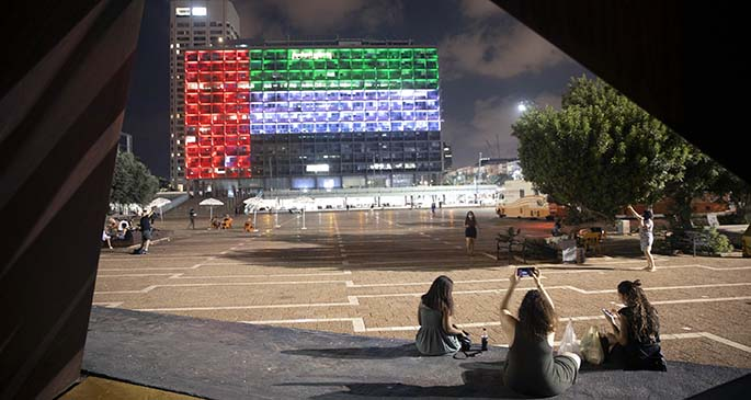 The city hall building in Tel Aviv, Israel lit up in the colours of the United Arab Emirates' national flag.