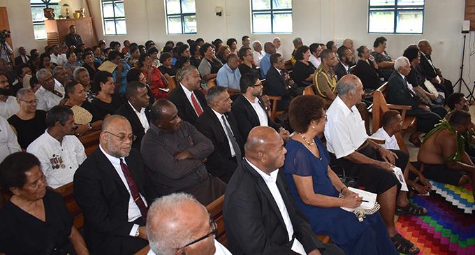 Members of Parliament were present at the church service included Attorney General Aiyaz Sayed-Khaiyum, Minister for Tourism Faiyaz Koya and Speaker of Parliament Ratu Epeli Nailatikau and MP Roko Tui Dreketi Ro Teimumu Kepa. Photo: WAISEA NASOKIA