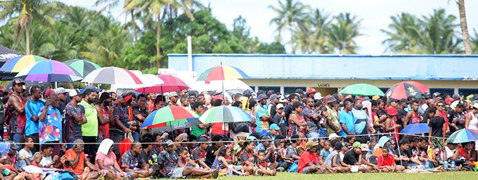 Where's social distancing... rugby fans watching the Namosi and Naitasiri clash  at Thomson Park, Navua on August 8, 2020. Photo: Ronald Kumar