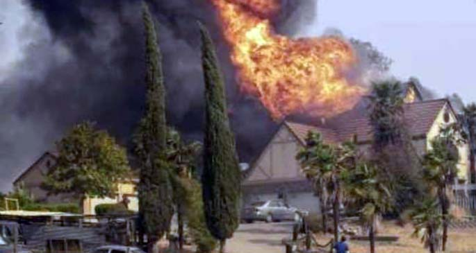 Gulchat Singh house in flames.