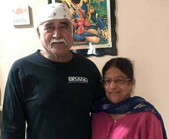Gulchat Singh with his wife.