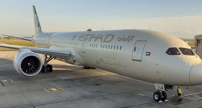 Etihad Airways chartered flight at Nadi International Airport on August 13, 2020, which brought home several Fijian nationals.