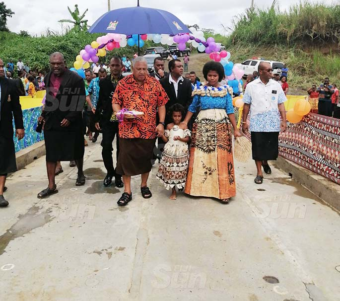 Prime Minister Voreqe Bainimarama with Government officials, villagers and stakeholders during the commissioning of the Savusavu Crossing, Ra on August 21, 2020. Photo: Susana Hirst-Tuilau