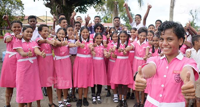 Bhawani Dayal Memorial School Year 8 student Raijeli Sakaraia 13 (front) with her classmates and teachers after winning the Virtual Constitution Day competition. Photo: Ronald Kumar