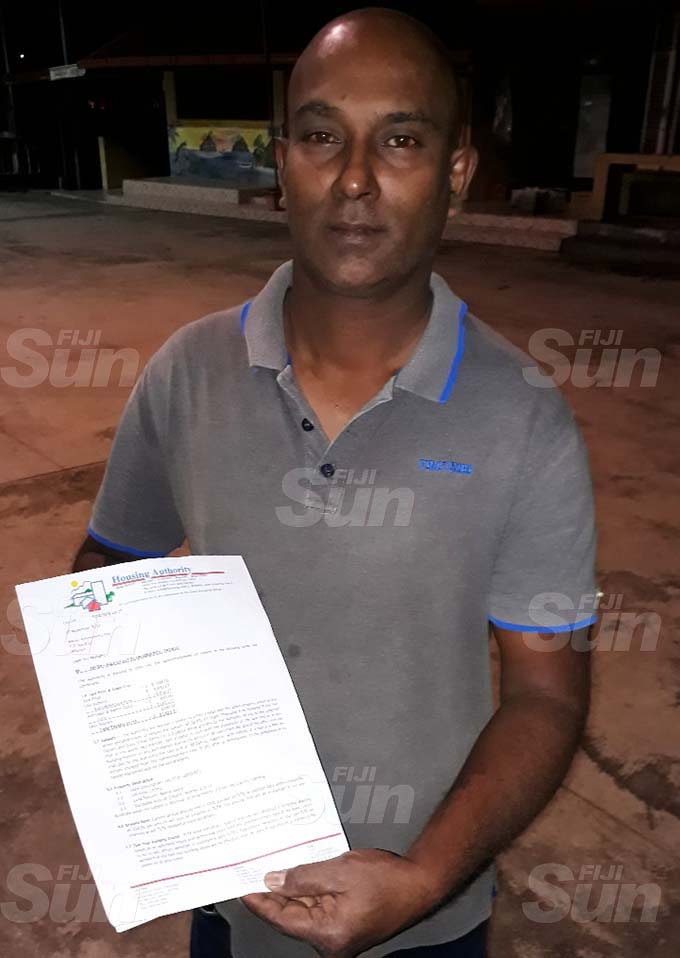 Roney Roy, 48, with a copy of the offer letter he claims was given to him for a piece of land in the Tacirua Subdivision. Photo: Inoke Rabonu