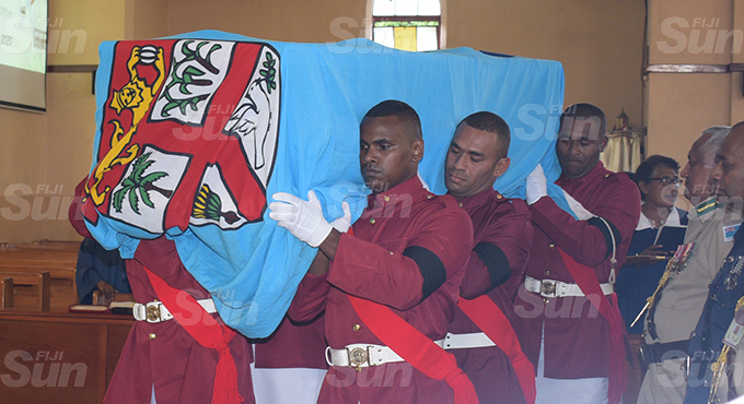 Fiji Correction servicers officers carry the casket of their late Principal Corrections officer and former National 7's player, Lemeki Koroi during the funeral service at Centenary Methodist Church on September 16, 2020. Photo: Ronald Kumar.