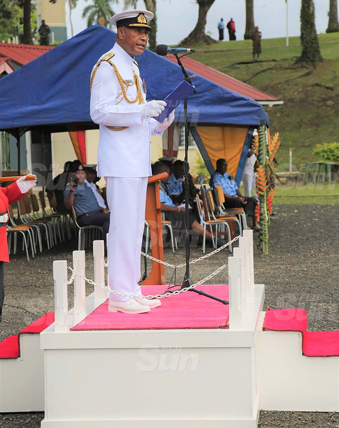Commander of the Republic of Fiji Military Forces (RFMF) Rear Admiral Viliame Naupoto speaking during the commissioning of the Republic of Fiji Military Forces Navy Band at the Queen Elizabeth Barracks in Nabua on September 18, 2020. Photo: Inoke Rabonu
