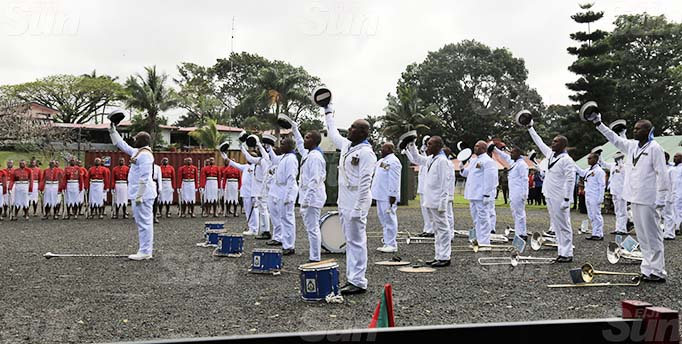 Members of the Republic of Fiji Military Forces Navy Band during the commissioning at the Queen Elizabeth Barracks in Nabua on September 18, 2020. Photo: Inoke Rabonu