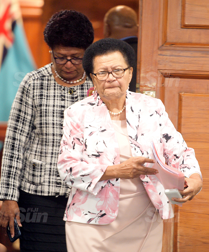 Opposition Member of Parliament Adi Litia Qionibaravi  outside Parliament 2, 2020. Photo: Ronald Kumar.