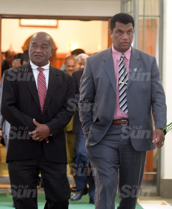 Opposition Member of Parliament Niko Nawaikula (left) and Asseri Radrodro outside Parliament 2, 2020. Photo: Ronald Kumar.