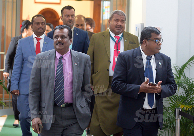 Minister for Youth and Sports Praveen Bala outside Parliament 2, 2020. Photo: Ronald Kumar.