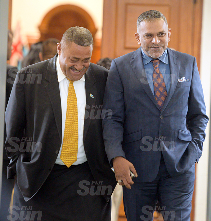 Opposition Member of Parliament Ratu Suliano Matanitobua (left) and Minister for Trade and Tourism Faiyaz Koya outside Parliament 2, 2020. Photo: Ronald Kumar.
